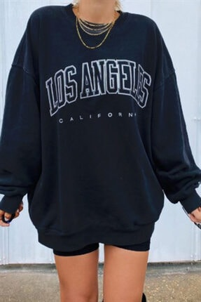 Madmext Mad Girls Siyah Baskılı Oversize Kadın Sweatshirt Mg780