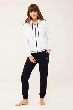 U.S. Polo Assn. Kadın Beyaz Kapüşonlu Sweatshirt
