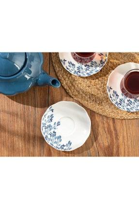 English Home Clover Flower Porselen Çay Tabağı 12 Cm Beyaz - Mavi