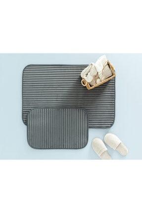 English Home Cord Fitilli 2'li Banyo Paspası Seti 60x90-40x60 Cm Antrasit