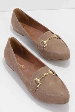 Bambi Vizon Süet Kadın Loafer Ayakkabı K01702200165