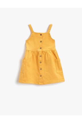 Koton Kız Bebek Hardal Pamuklu Elbise Dügmeli