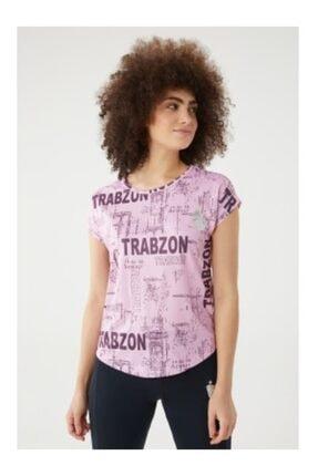 Trabzonspor Kadın Pudra Bisiklet Yaka Baskılı Delikli Tshirt