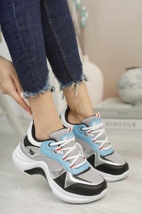 Riccon Kadın Gümüş Turkuaz Sneaker 0012601