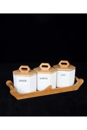 ACAR 3 Parça Vakumlu Bambu Kapaklı Porselen Baharat Takımı 9581
