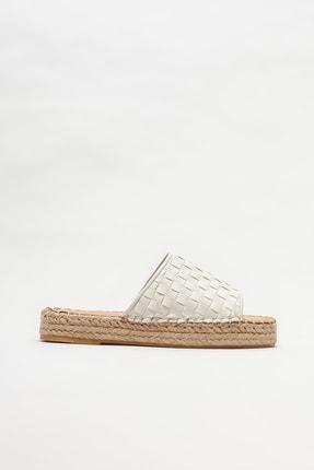 Elle Shoes Beyaz Deri Kadın Espadril