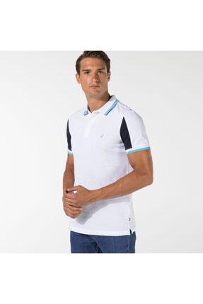 Nautica Nautıca Erkek Beyaz Blok Desenli Slım Fıt Polo Yaka T-shirt