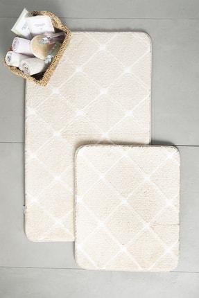 English Home Tile Polyester Banyo Paspası Seti 60x100 - 50x60 Cm Taş Rengi