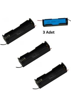 StoreX 3 Adet Tekli 18650 Pil Tutucu Kablolu Pil Yuvası 3.7v Pil Şarj Powerbank Kutu 1x Batarya 3x 11.1v