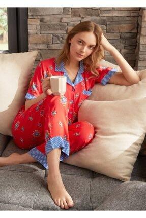 SUWEN Kadın Kirmizi Baskili Vilma Maskulen Pijama Takımı
