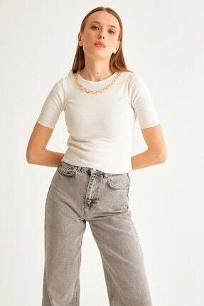 Fulla Moda Zincir Detaylı Fitilli Bluz