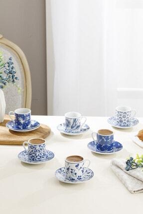 English Home Bella Porselen 6'lı Kahve Fincan Takımı 80 Ml Lacivert