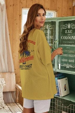Millionaire Kadın Sarı Oversize California Baskılı T-shirt