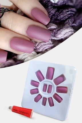xolo Takma Tırnak Küt Kesim Mat Pastel Gül Kurusu Kendinden Yapışkanlı Xl742