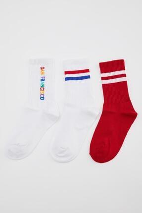 DeFacto Desenli 3'lü Soket Çorap