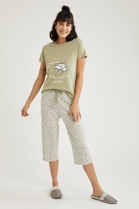 DeFacto Kadın Gri Kedi Baskılı Kısa Kollu Pijama Takımı