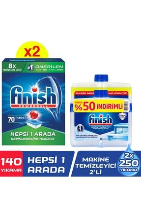 Finish Hepsi Bir Arada 140 Tablet Bulaşık Makinesi Deterjanı(70x2)+makine Temizleyici Sıvı 2x250 ml