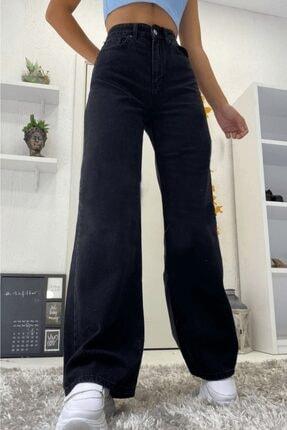 Ramrod Love Solmayan Siyah Likralı Süper Yüksek Bel Salaş Jean Pantolon. (SÜPER YÜKSEK.) Wide Leg.