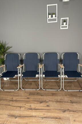 Berta Concept Fuerte 4 Adet  Ahşap Kollu Kamp Piknik Bahçe Balkon Sandalyesi Katlanır Lacivert