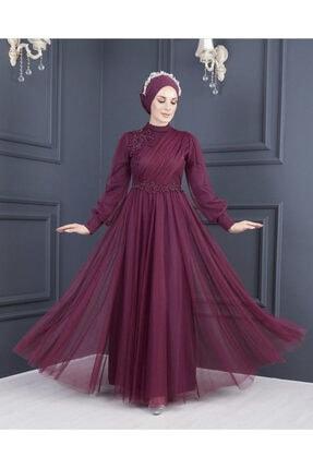 Moda Echer Tesettür Abiye Elbise Tül Kumaş Dantel Aksesuarlı 7652
