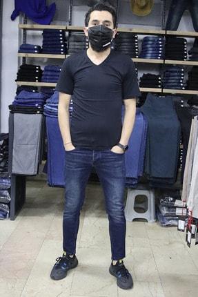 BOSS MİLANO Erkek Kot Pantolon Mavi Slim Fit(DAR KALIP)