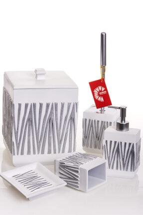 MUKKO HOME Beyaz Gümüş 5 Parça Polyester Banyo Seti