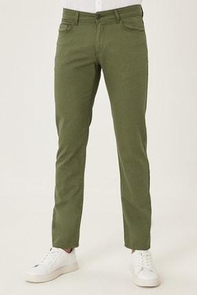 AC&Co / Altınyıldız Classics Erkek Haki Kanvas Slim Fit Dar Kesim %100 Koton 5 Cep Pantolon