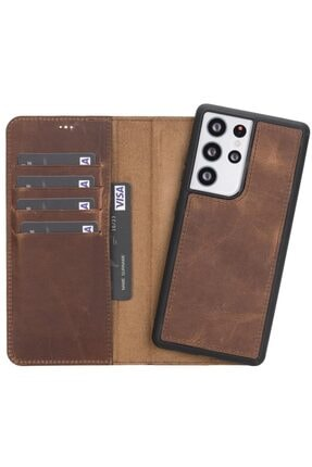 PLM Mw Deri Telefon Kılıfı Samsung S21 Ultra Uyumlu G2 Antik Kahve