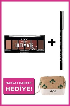 NYX Professional Makeup Göz Makyajı Seti Ultimate Shadow Petit Palette + Epic Wear Liner Sticks + Makyaj Çantası