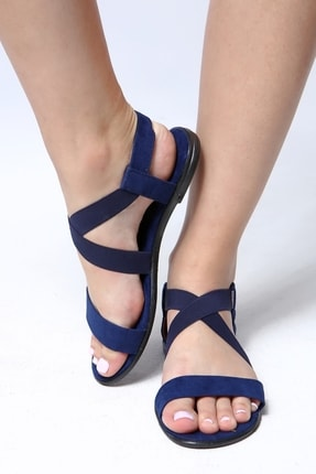 Beyond Bayan Lacivert Lastikli Sandalet