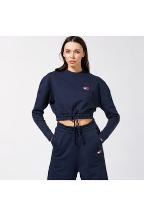 Tommy Hilfiger Tjw Super Cropped Badge Crew Kadın Lacivert Sweatshirt