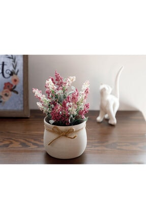 English Home Posy Flowers Seramik Vazolu Yapay Çıçek 15x15x16 Cm Lila