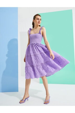 Koton Firfirli Elbise Pamuklu Midi