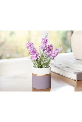 English Home Lavender Seramik Vazolu Yapay Çiçek 13x13x18 Cm Mor