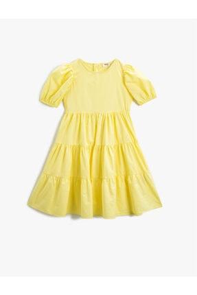 Koton Kız Çocuk Sarı Yazlik Elbise Balon Kollu