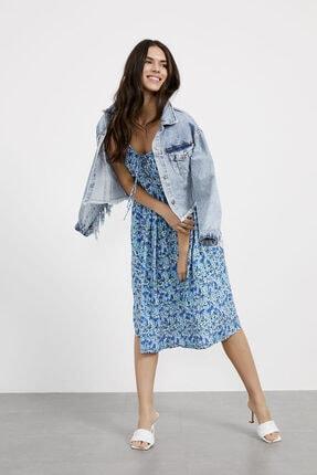 Arma Life Kadın Mavi Saks Çiçekli İp Askılı Bağcıklı Elbise