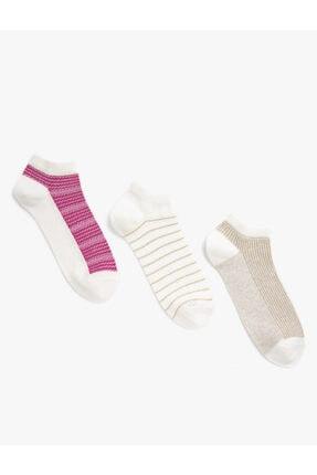 Koton Kisa Çizgili Çorap Seti 3'lü Pamuklu