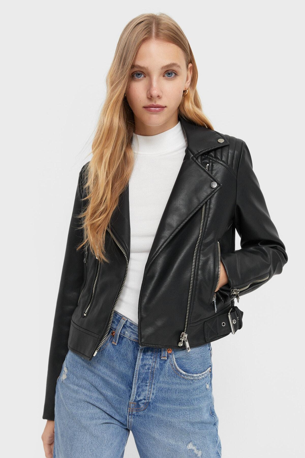 Stradivarius Kadın Siyah Biker Ceket