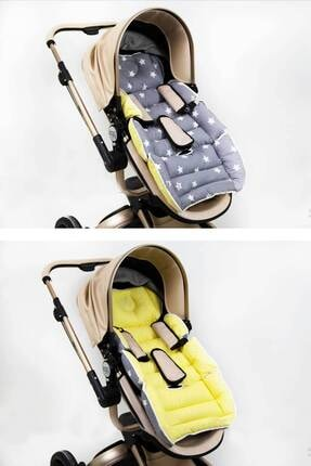 Babynest Bel Destekli Araba Minderi Sarı Ve Gri Yıldız