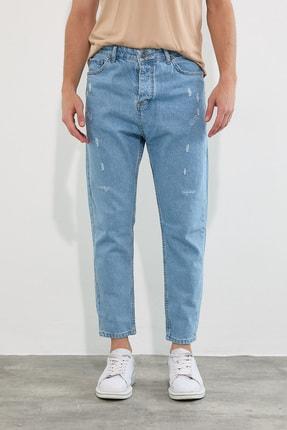 Tarz Cool Erkek Buz Mavi Destroylu Boyfriend Jeans Pantolon