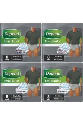 Depend Emici Külot Hasta Bezi Büyük Erkek 32 Adet (4pk*8)