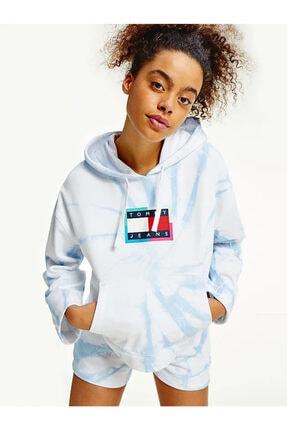 Tommy Hilfiger Kadın Mavi Hoddie Sweatshirt
