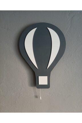 Babystasarım Gri Uçan Balon Ahşap Çocuk Odası Ledli Aydınlatma