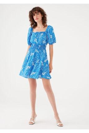 Mavi Çiçek Baskılı Kısa Elbise