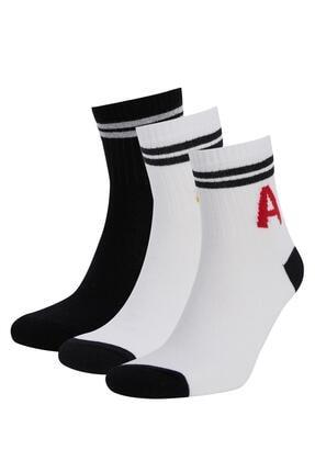 DeFacto Harf Işlemeli 3'lü Soket Tenis Çorabı