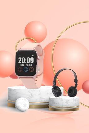 Daniel Klein Smart Watch Pembe Akıllı Saat + Bluetooth Kulaklık + Ekran Koruyucu