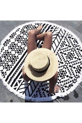 trendish 160 Cm Çapında Mandala Desen Yuvarlak Püsküllü Plaj Havlusu