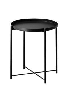 IKEA Tepsili Sehpa, Yuvarlak Siyah Renk Meridyendukkan Çıkarılabilir Tepsi - Modern Sehpa 45x53 Cm