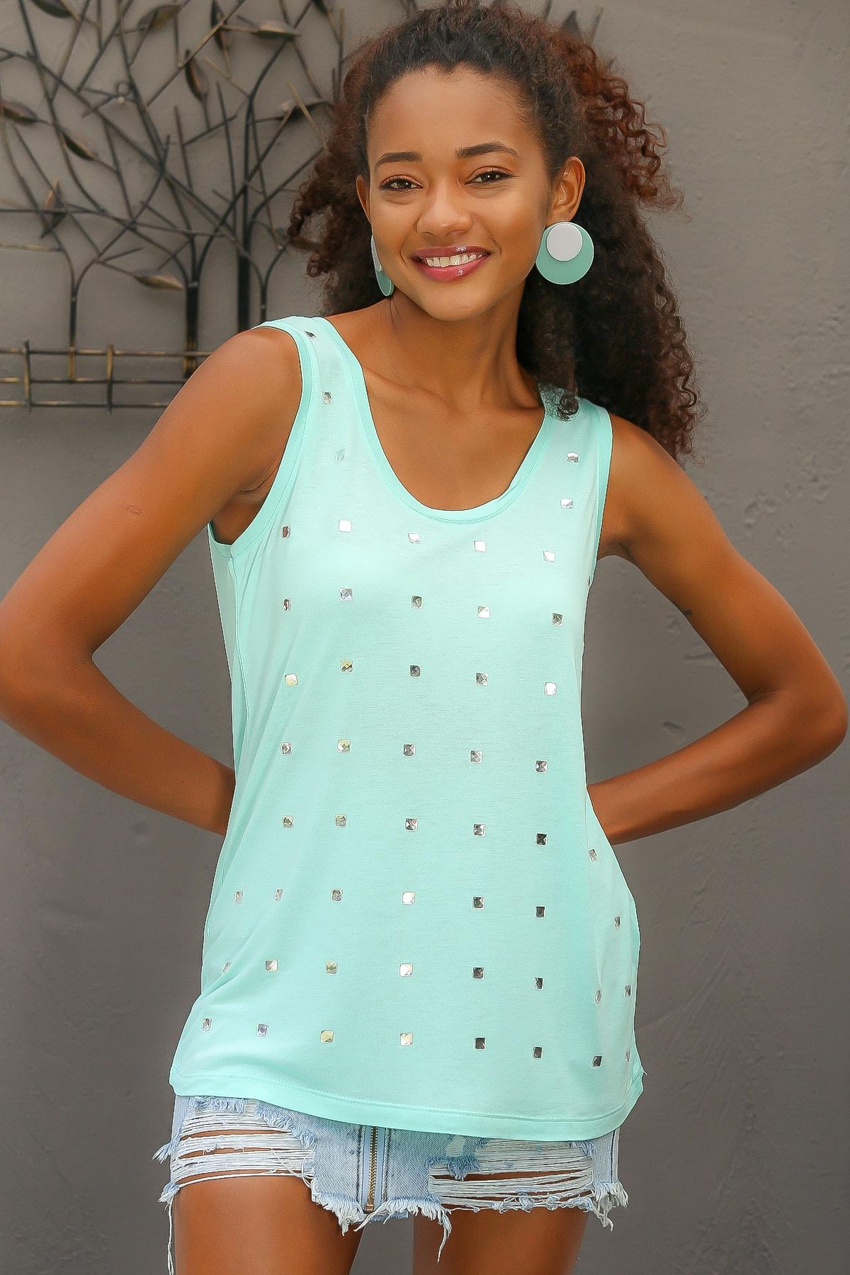 Chiccy Kadın Mint Kristal Kare Taş Detaylı Kolsuz Bluz M10010200BL95086
