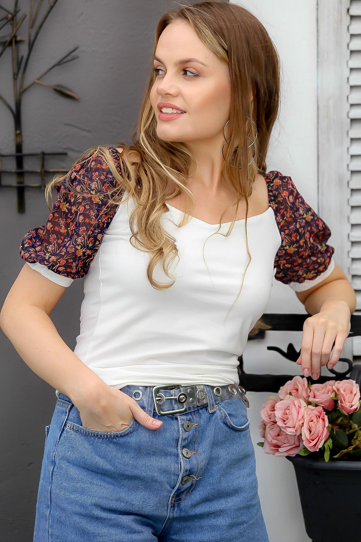 Chiccy Kadın Ekru Çiçek Desenli Şifon Karpuz Kollu Bluz M10010200BL95069